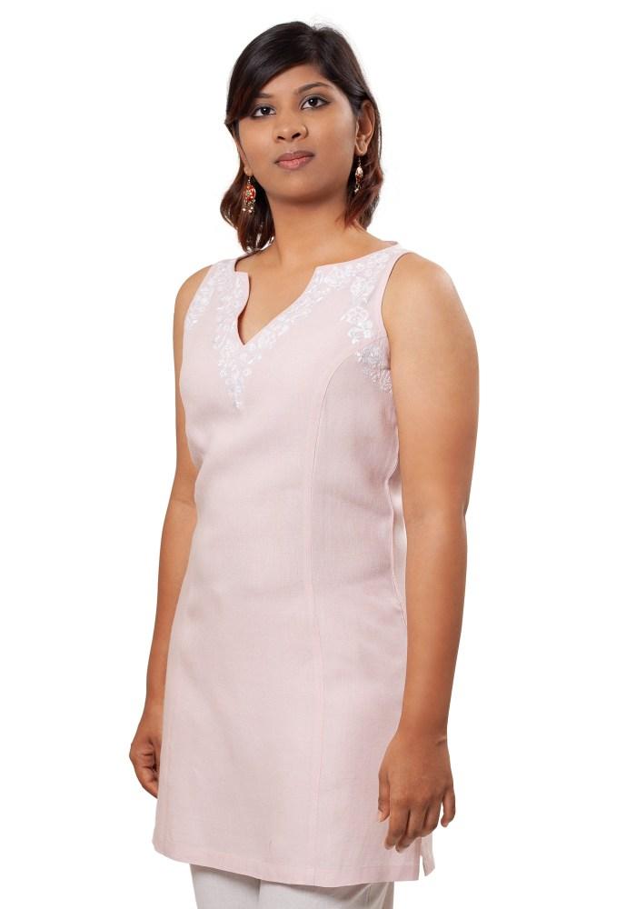 MINC Ecofashion Sleeveless Linen Tunic in Lotus Pink