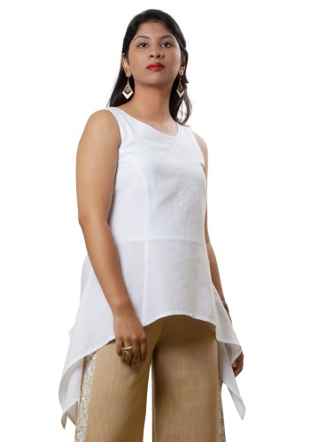 MINC Handkerchief Hem Embroidered Tunic in White Linen