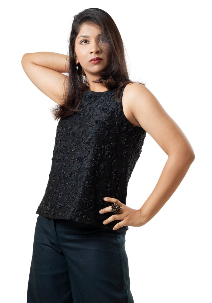 MINC Sleeveless Hand Embroidered Black Beaded Top in Black Silk