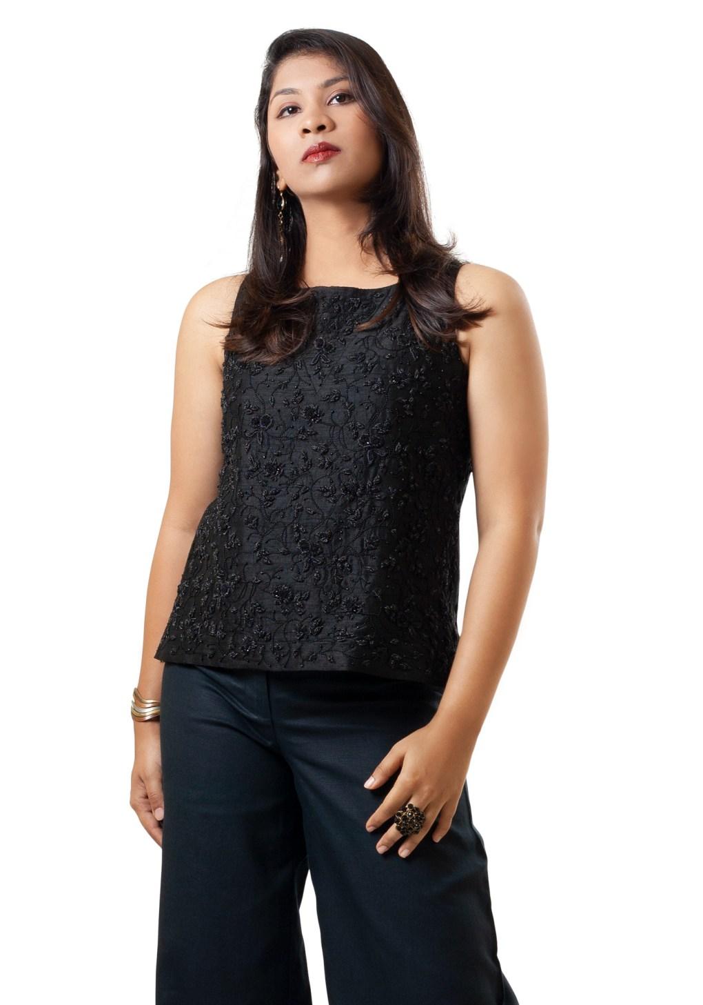 MINC ecofashion Sleeveless Hand Embroidered Black Beaded Top in Black Silk