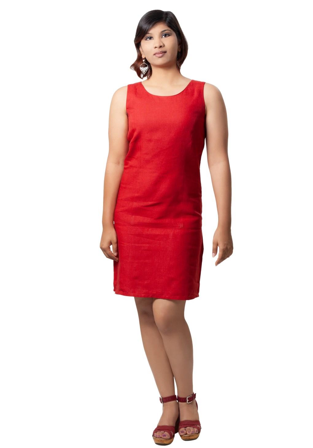 MINC ecofashion Stephanie Short Dress In Bright Red Linen