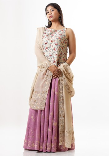 MINC ecofriendly couture Hand Embroidered Dupatta in Beige Silk Georgette
