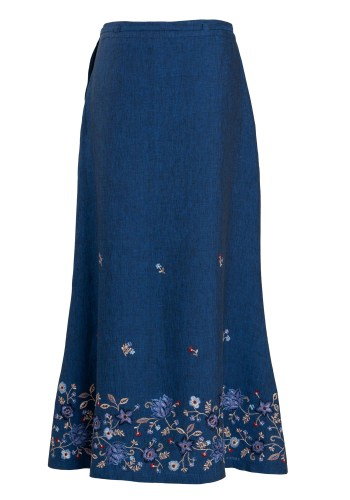 MINC Ankle Length Embroidered Skirt in Blue Linen