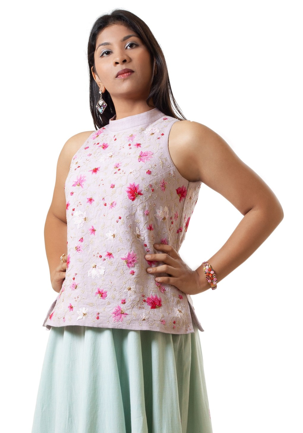 MINC Hand Embroidered Cut Away Shoulder Top In Lilac Linen