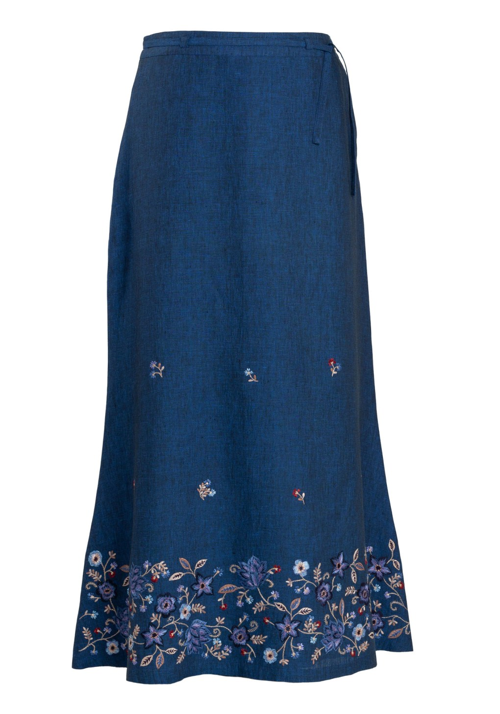 MINC ecofashion Ankle Length Embroidered Skirt in Blue Linen