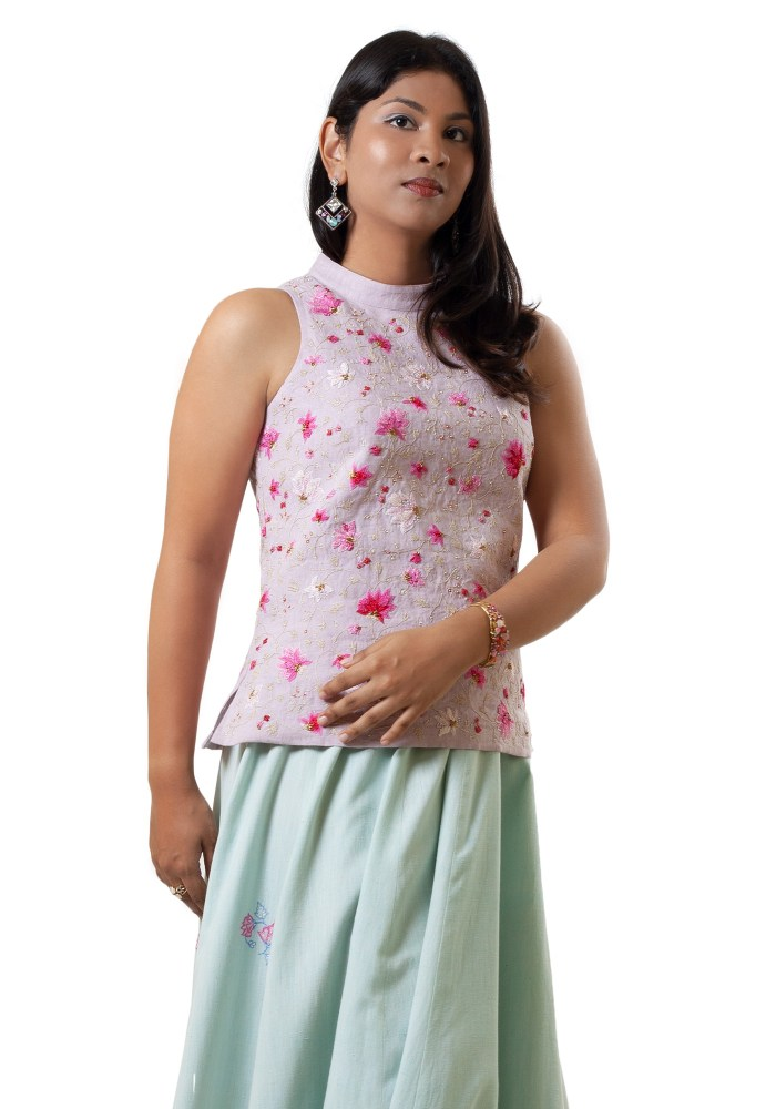 MINC ecofashion Hand Embroidered Cut Away Shoulder Top In Lilac Linen