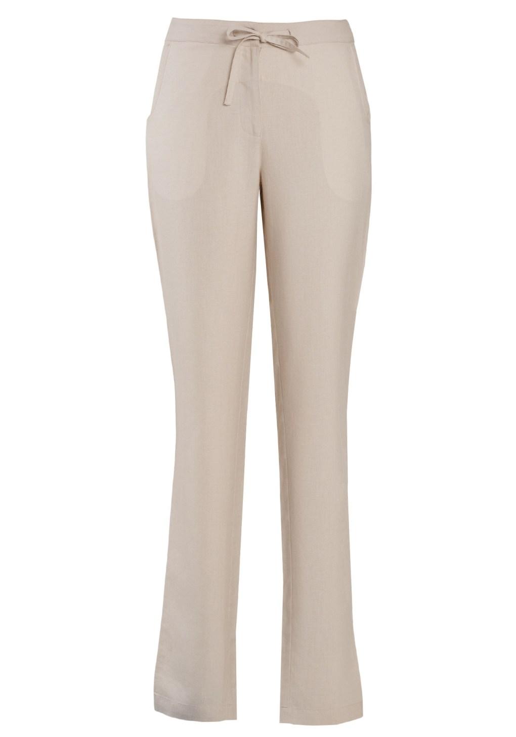 MINC ecofashion Narrow Trousers in Off White Linen with Drawstring