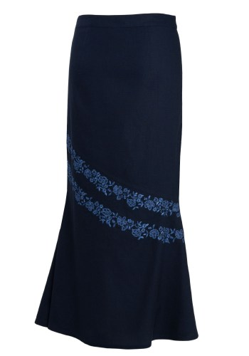 MINC Maxi Skirt in Blue Cotton with Floral Embroidery