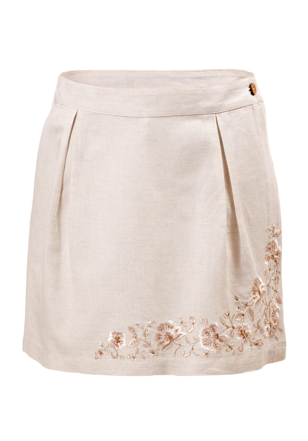 MINC Petite Embroidered Girls Short Skorts in Off White Linen