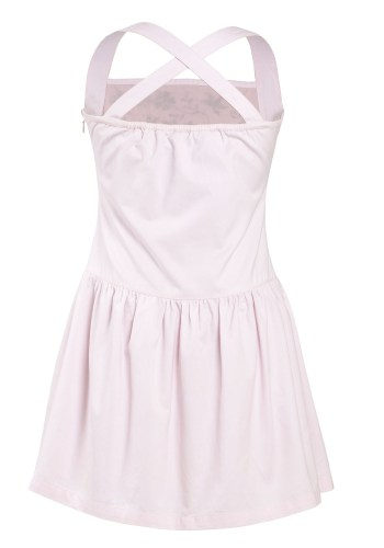 MINC Petite Embroidered Halter Dress in Pink Cotton Twill