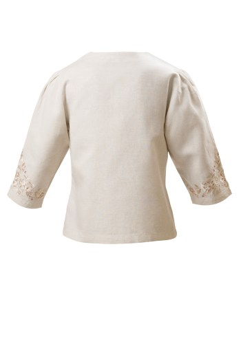 MINC Petite Girls Button Down three fourth sleeve Embroidered Jacket in Off White Linen