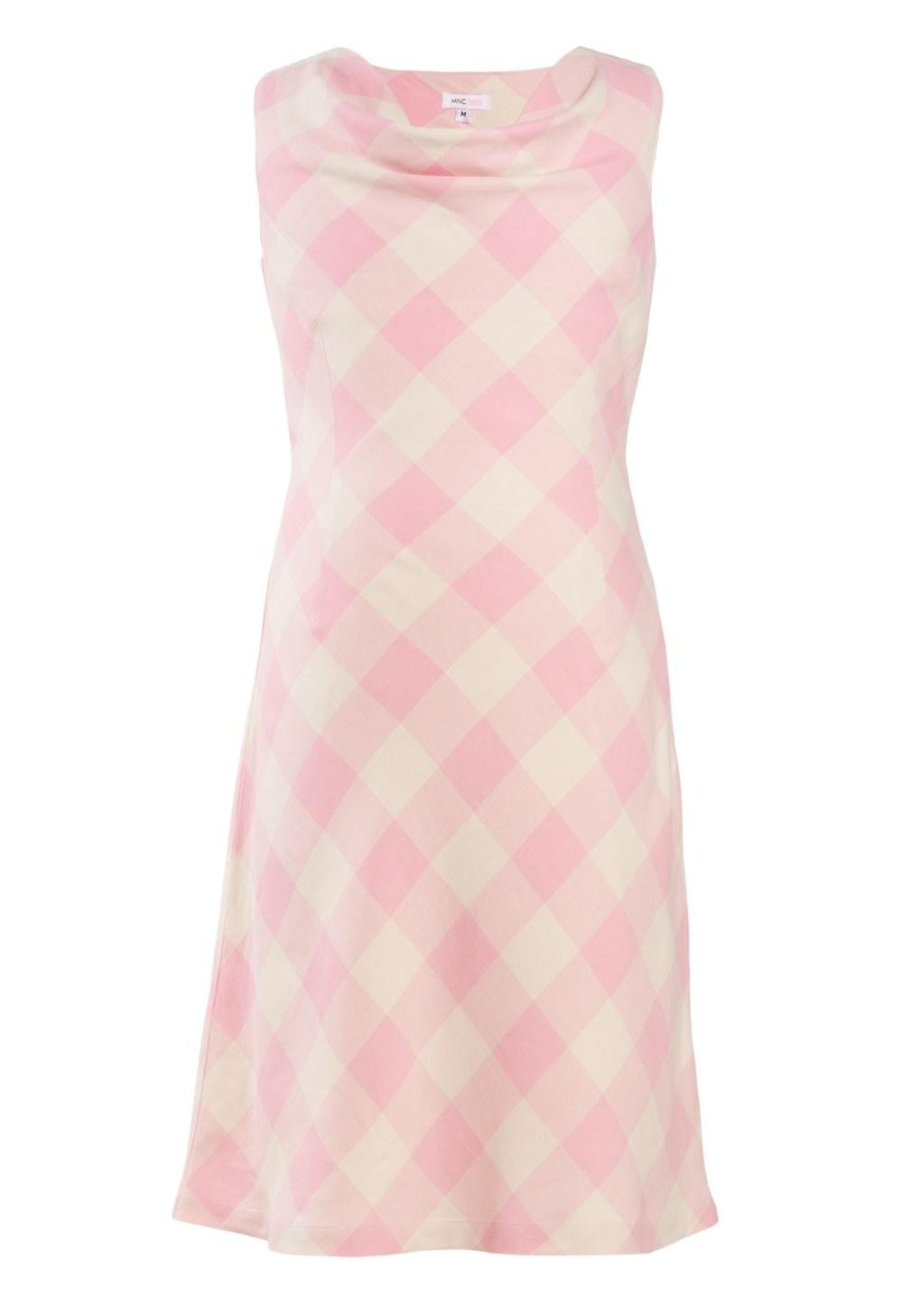 MINC Petite Girls Cowl Neck Dress in Yarn Dyed Cotton Checks