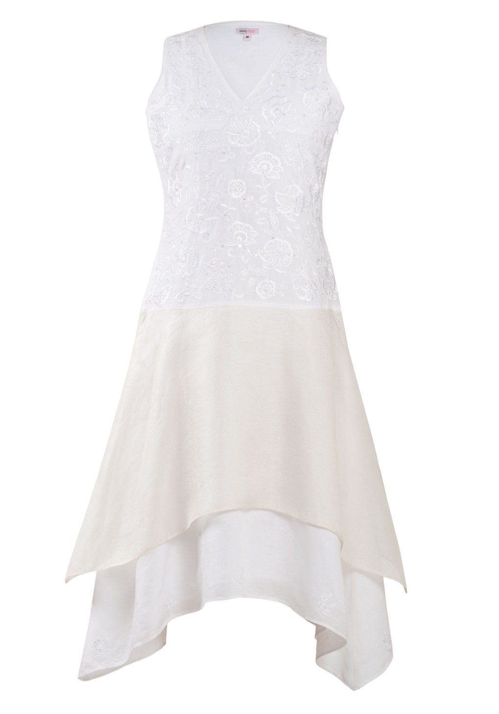 MINC Petite Girls Embroidered Dress in White Cotton Linen and Silk