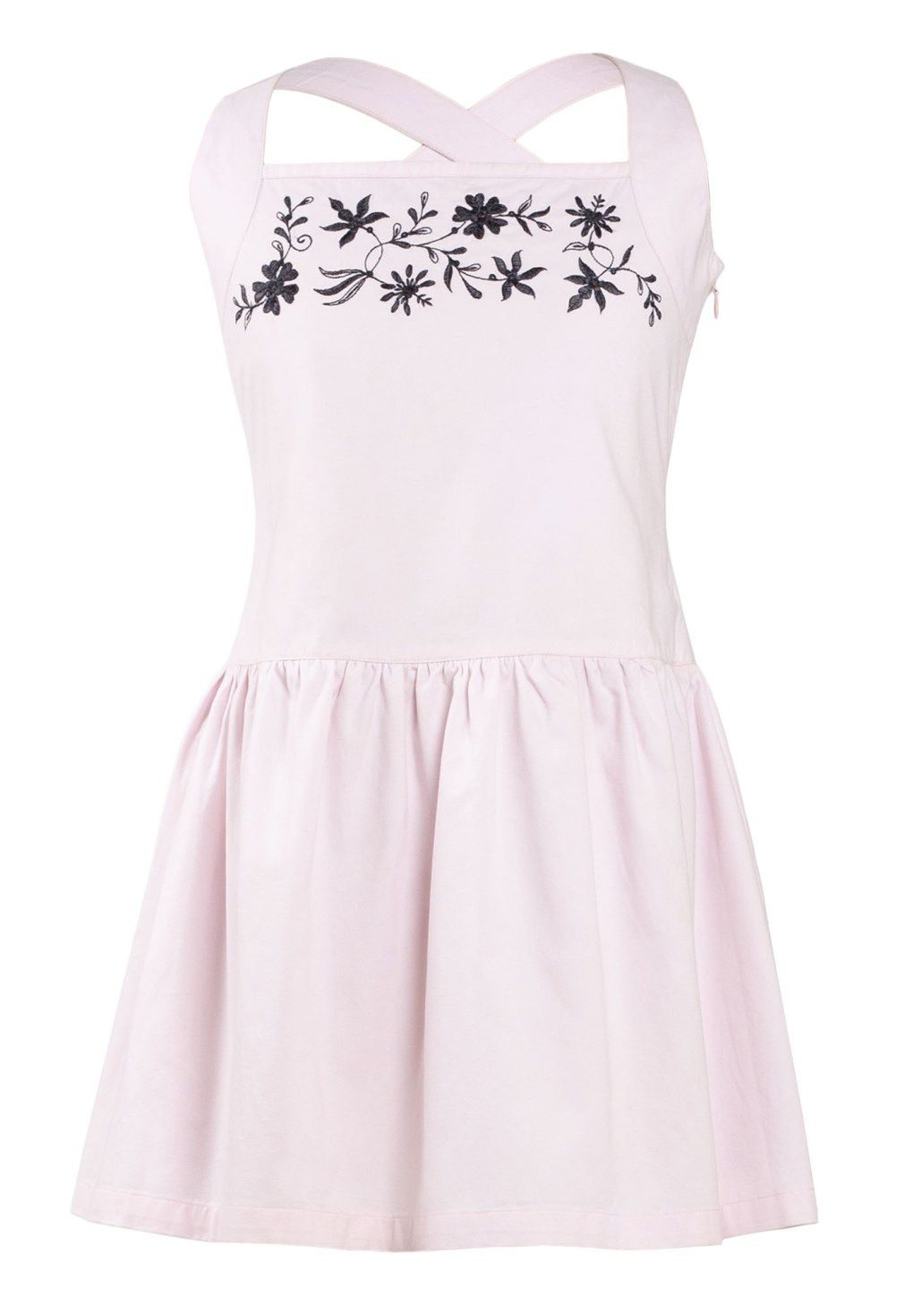 MINC Petite Girls Embroidered Halter Dress in Pink Cotton Twill