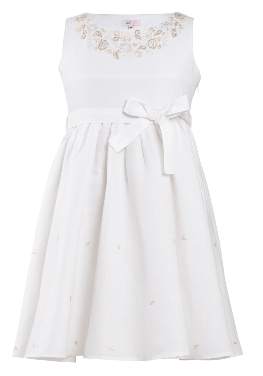 MINC Petite Girls Embroidered Short Dress in Angelic White Linen
