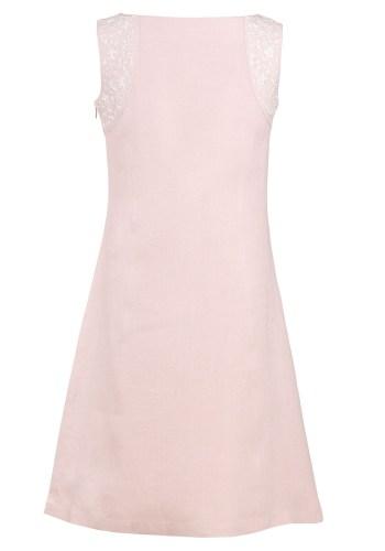 MINC Petite Girls Embroidered Short Dress in Lotus Pink Linen