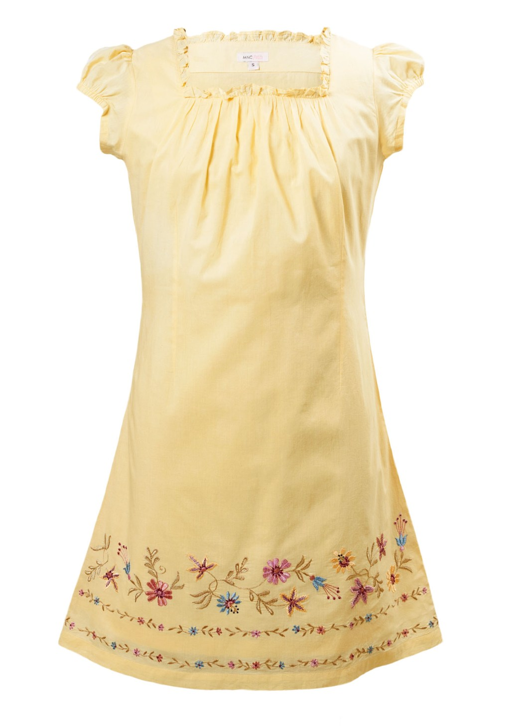 MINC Petite Girls Embroidered Short Dress in Yellow Cotton
