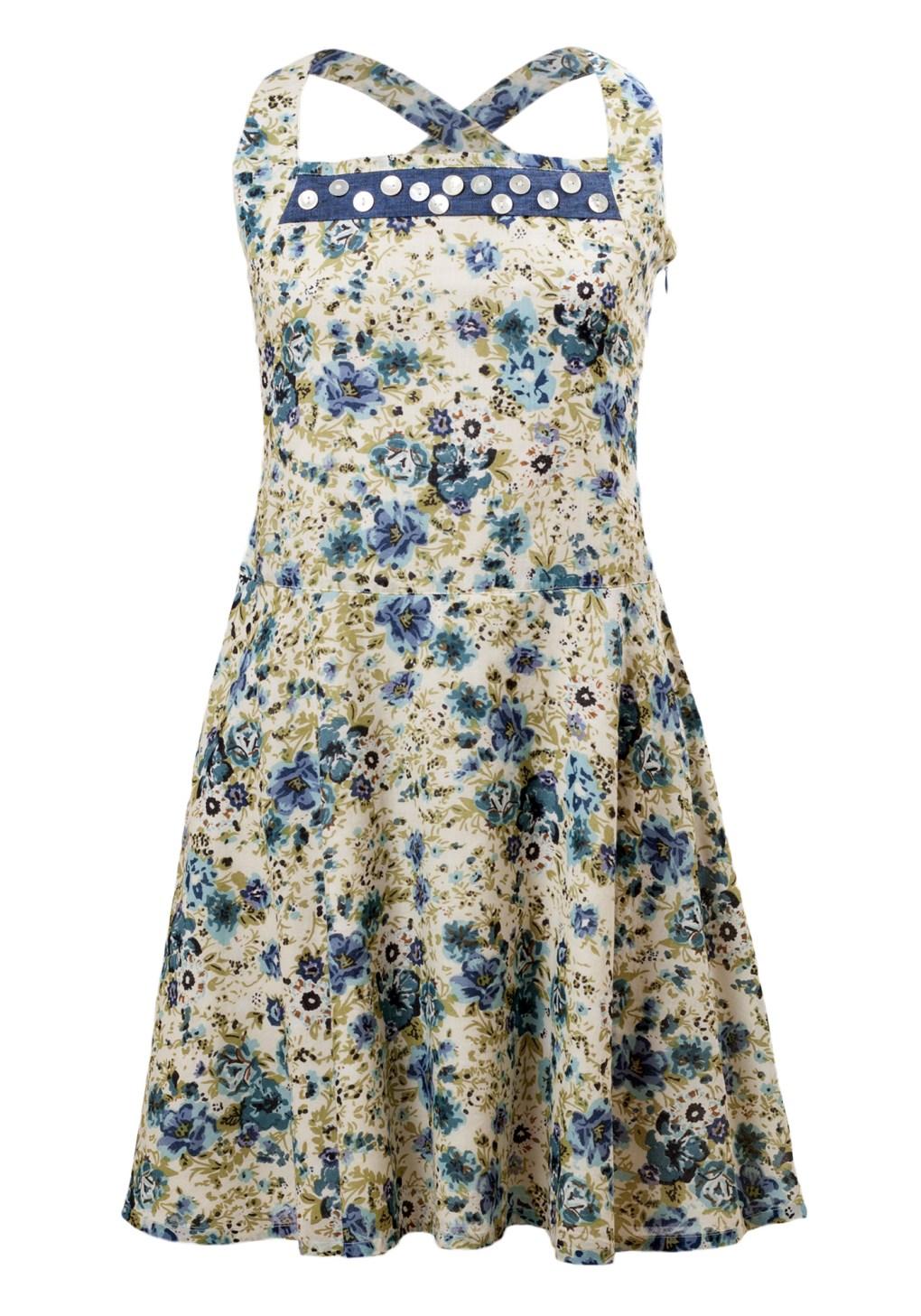MINC Petite Girls Halter Dress in Floral Printed Cotton