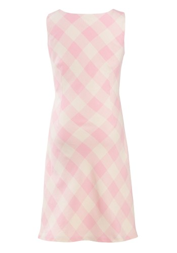 MINC Petite Girls Pink and Cream Cowl Neck Dress in Yarn Dyed Cotton Checks