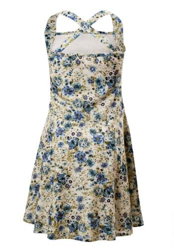 MINC Petite Girls Short Halter Dress in Floral Printed Cotton