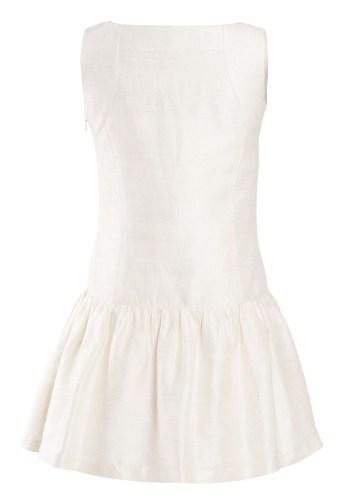 MINC Petite Girls Sleeveless Applique Embroidered Dress in White Silk