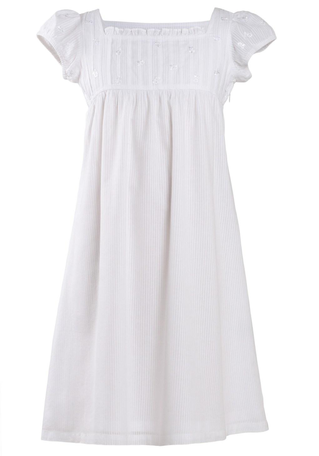 MINC Petite Girls Square Neck Dress in White Stripe Cotton Voile