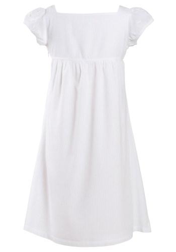 MINC Petite Girls Square Neck Embroidered Dress in White Stripe Cotton Voile