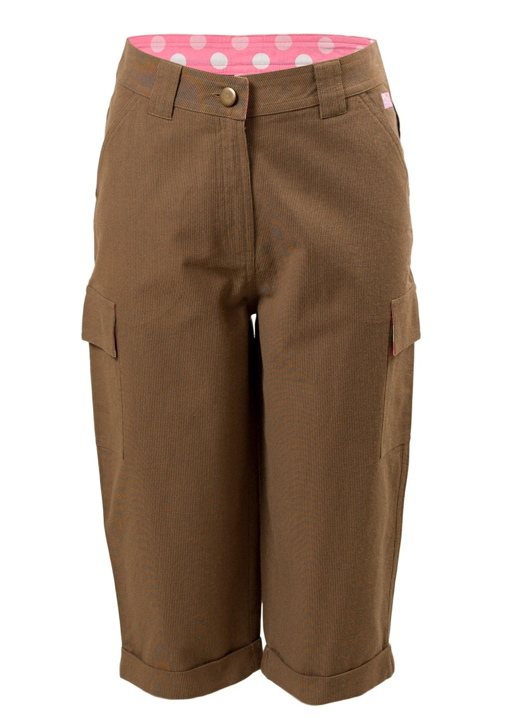 MINC Petite Nutmeg Girls Long Shorts in Brown Ribbed Cotton Cord