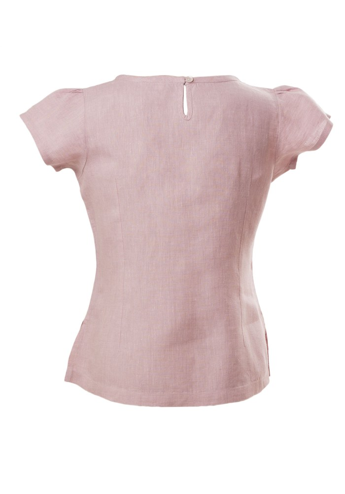 MINC Petite Pintuck Yoke Girls Short Top in Lilac Linen