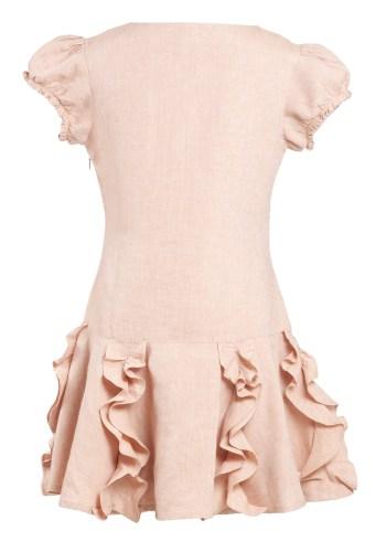 MINC Petite Preppy Princess Embroidered Dress in Dune Beige Linen