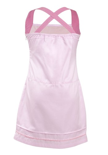 MINC Petite Princess Pink Embroidered Girls Short Dress in Cotton Satin