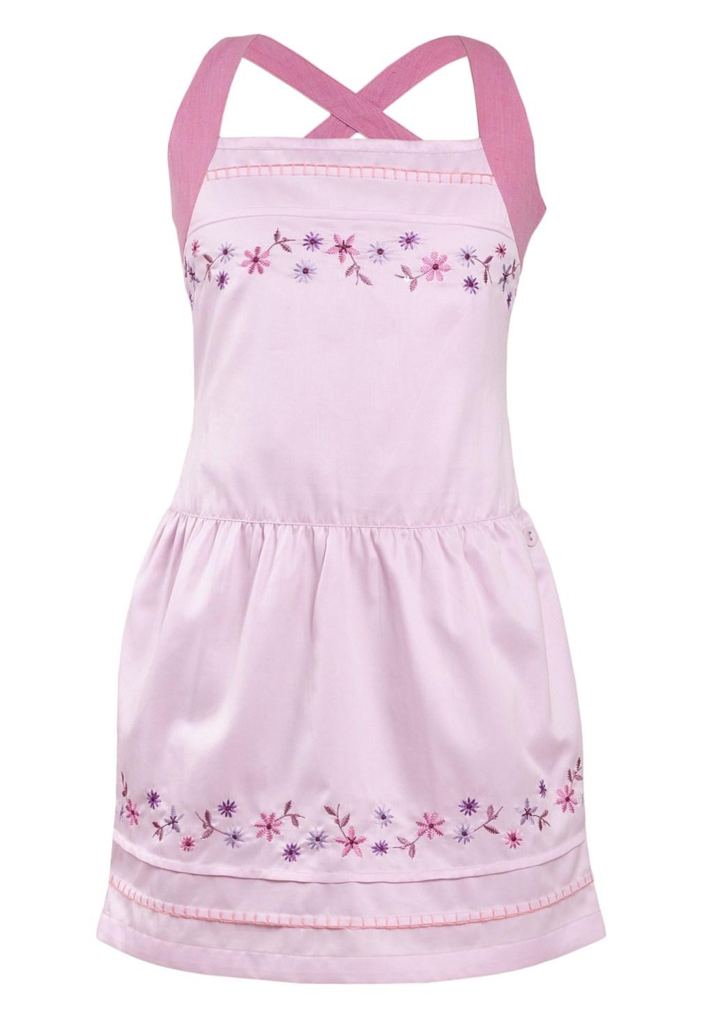 MINC Petite Princess Pink Girls Short Dress in Cotton Satin