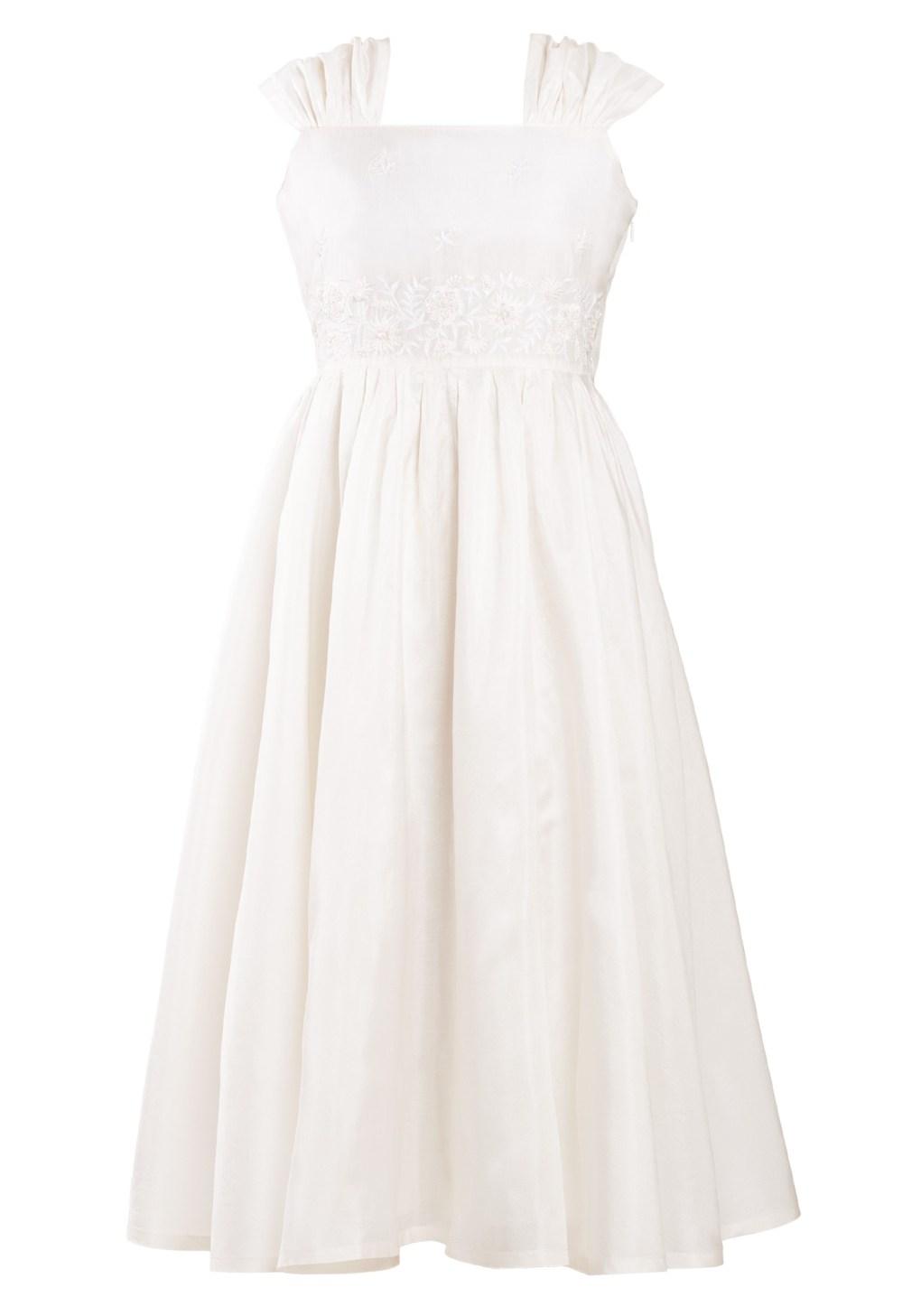 MINC Petite Summer Love Embroidered Girls Dress in White Silk