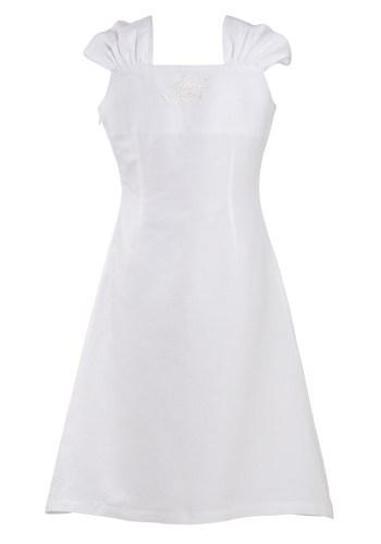 MINC Petite Summer Love Girls Embroidered Short Dress in White Cotton Linen