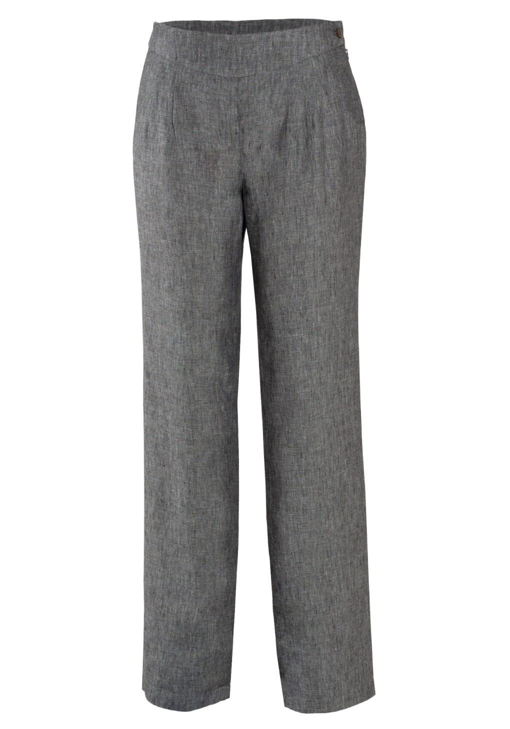 MINC Pleated Linen Trousers in Frost Grey
