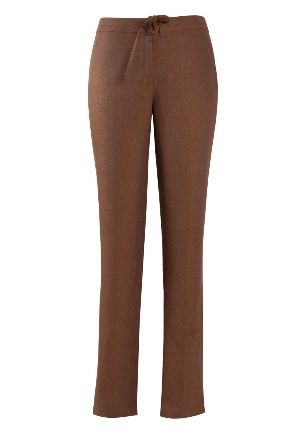 MINC ecofashion Womens Narrow Trousers in Brown Linen