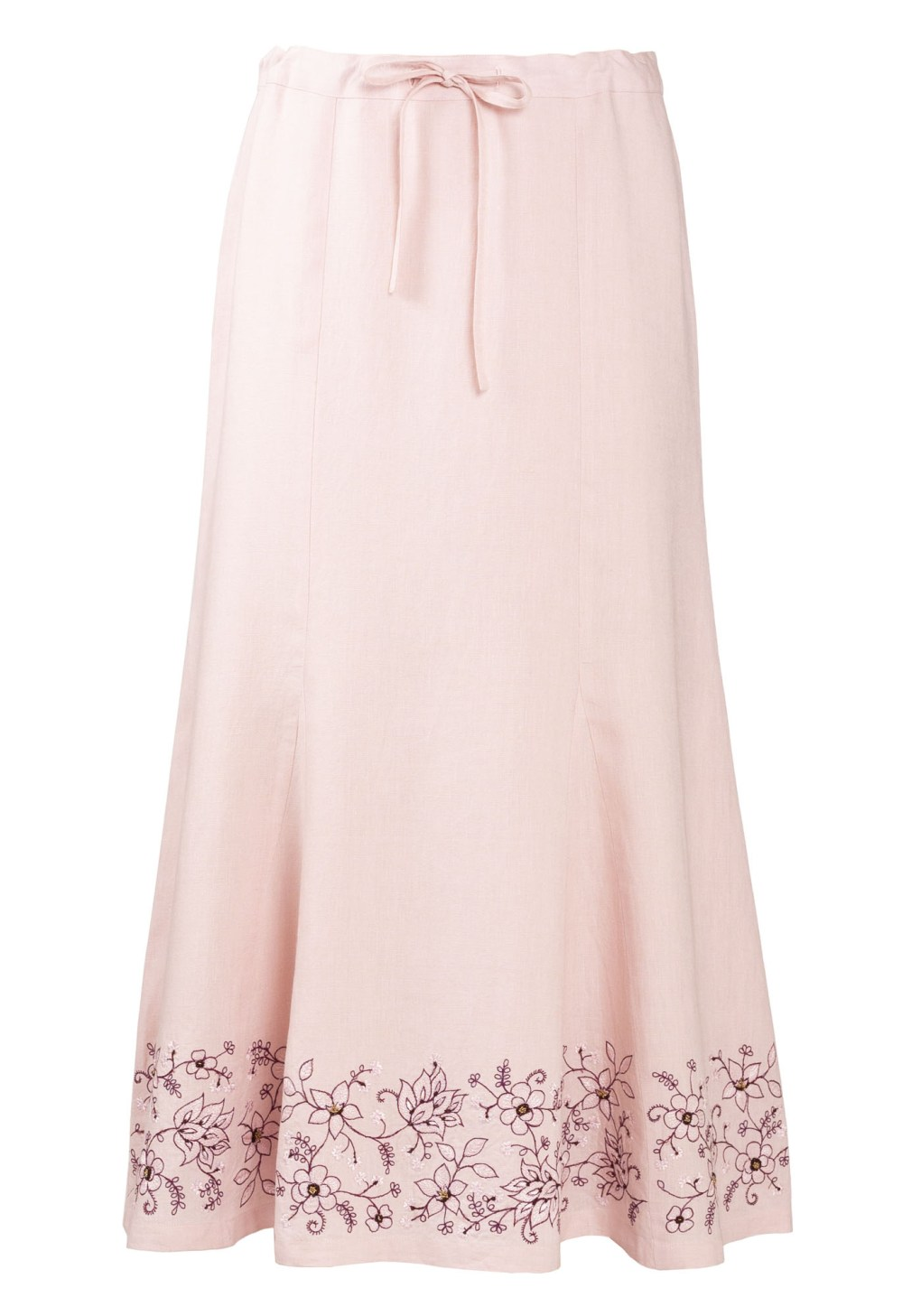 MINC womens ecofashion Ankle Length Embroidered Skirt in Pearly Pink Linen