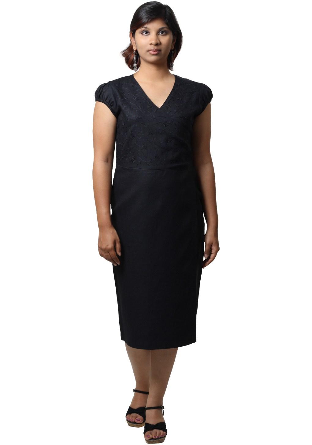 MINC Ecofashion Asymmetric Embroidered Little Black Linen Dress