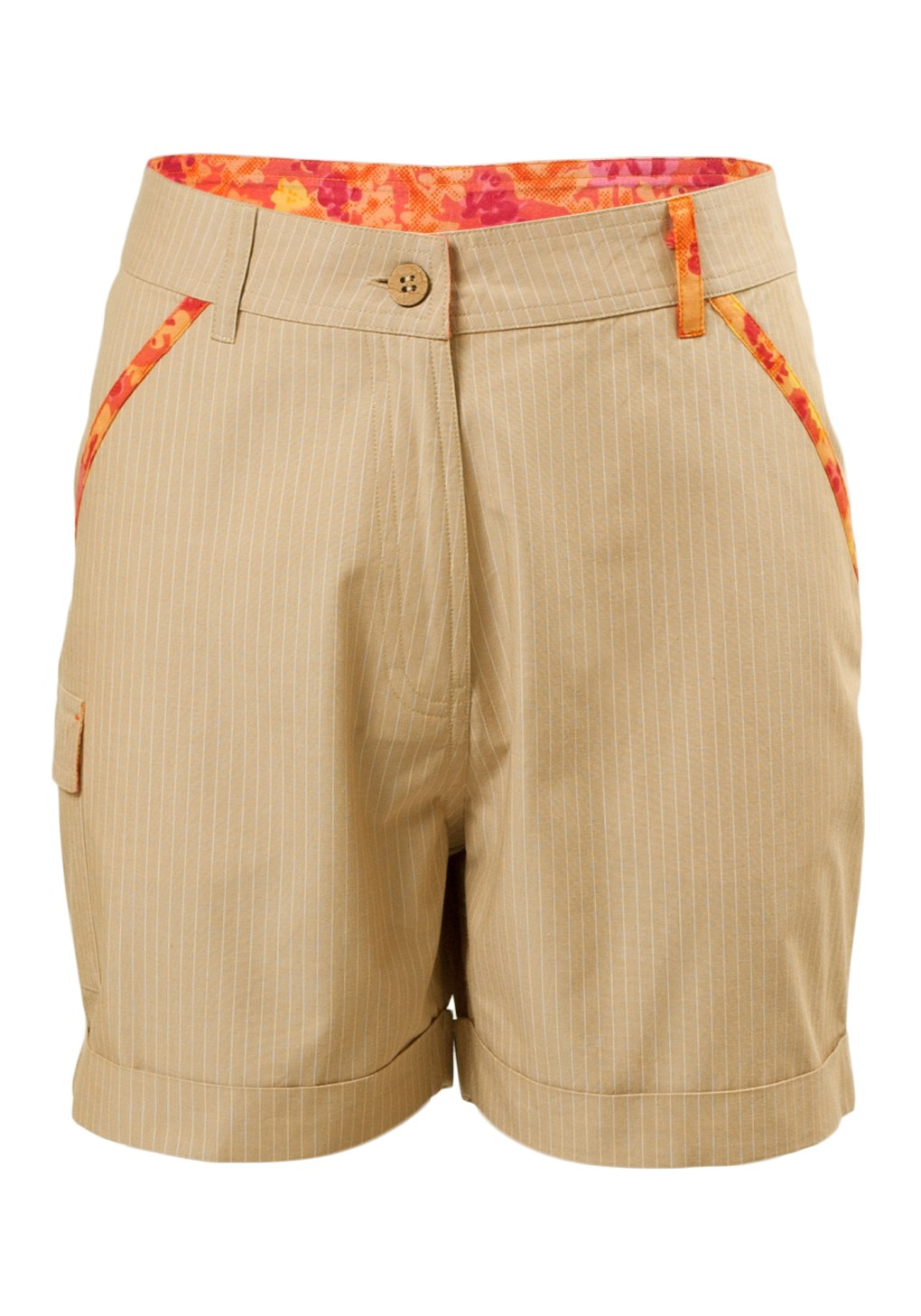 MINC Petite Desert Safari Girls Roll Back Cuff Shorts in Beige Cotton