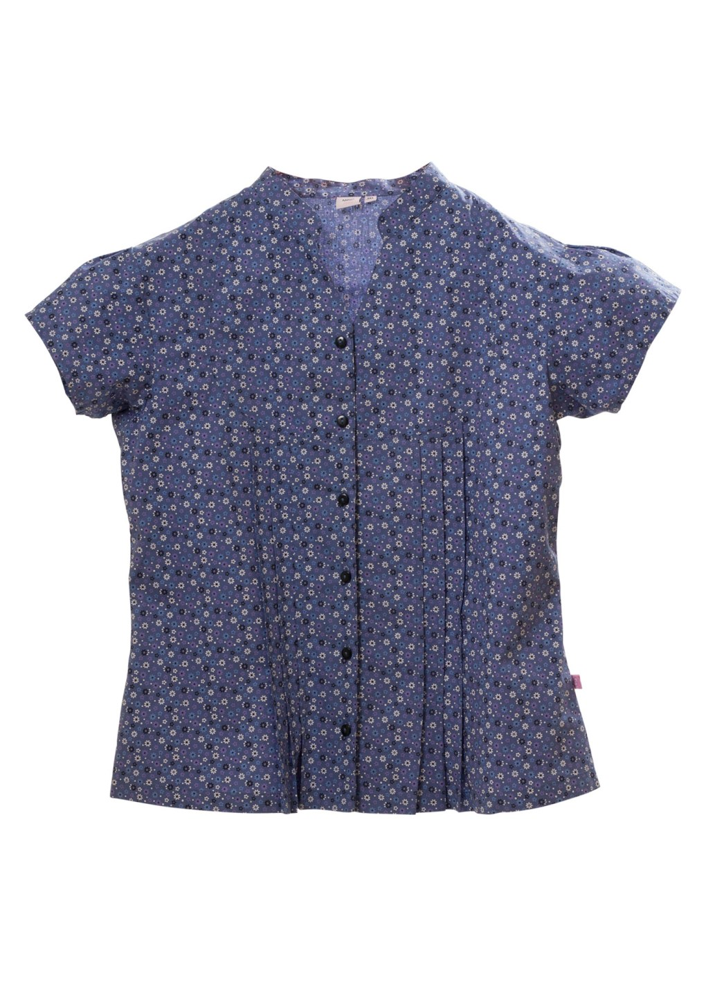 MINC Petite Girls Pleated Shirt in Blue Floral Printed Cotton
