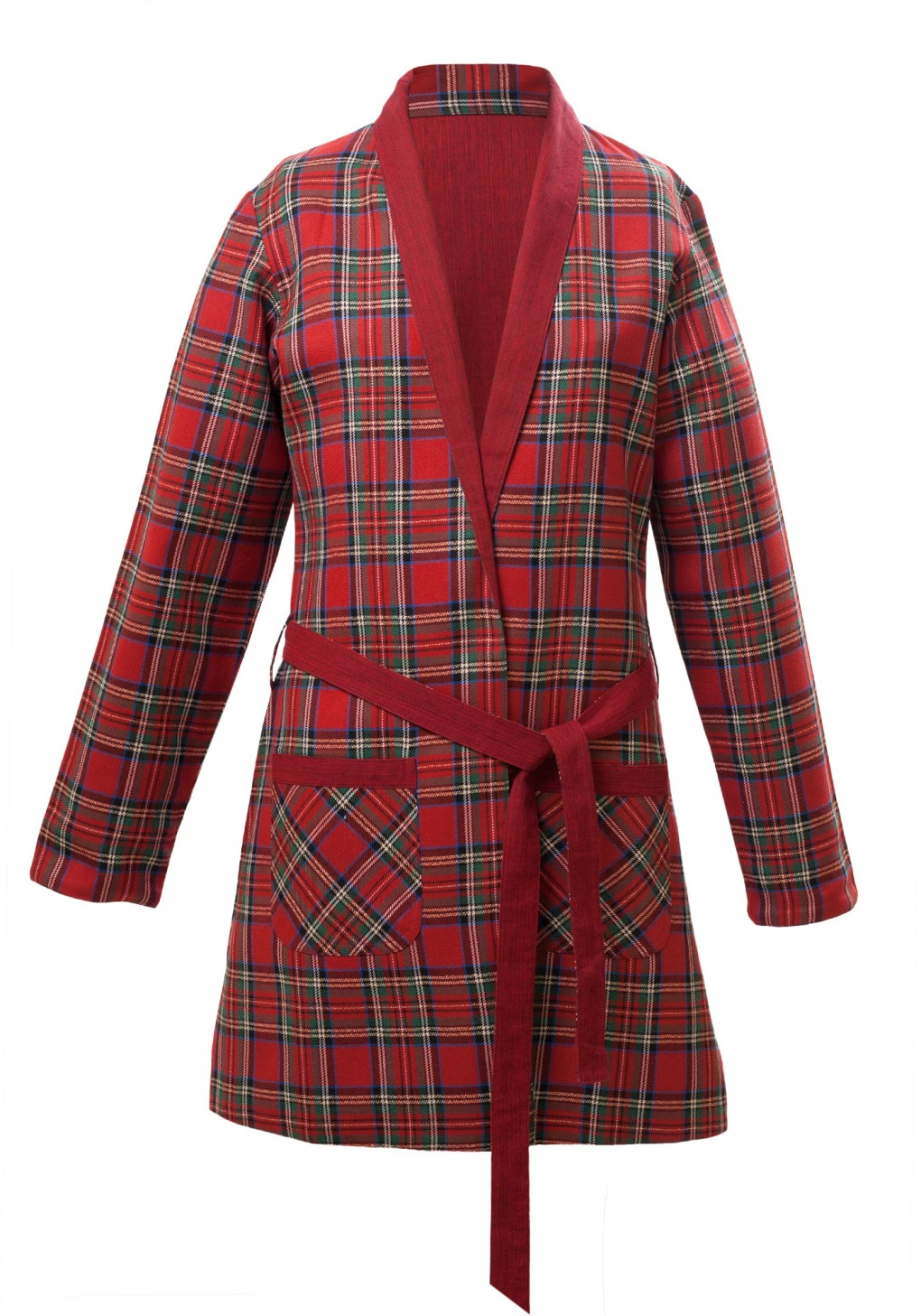 MINC Petite Girls Reversible Dressing Jacket in Red Checked Cotton