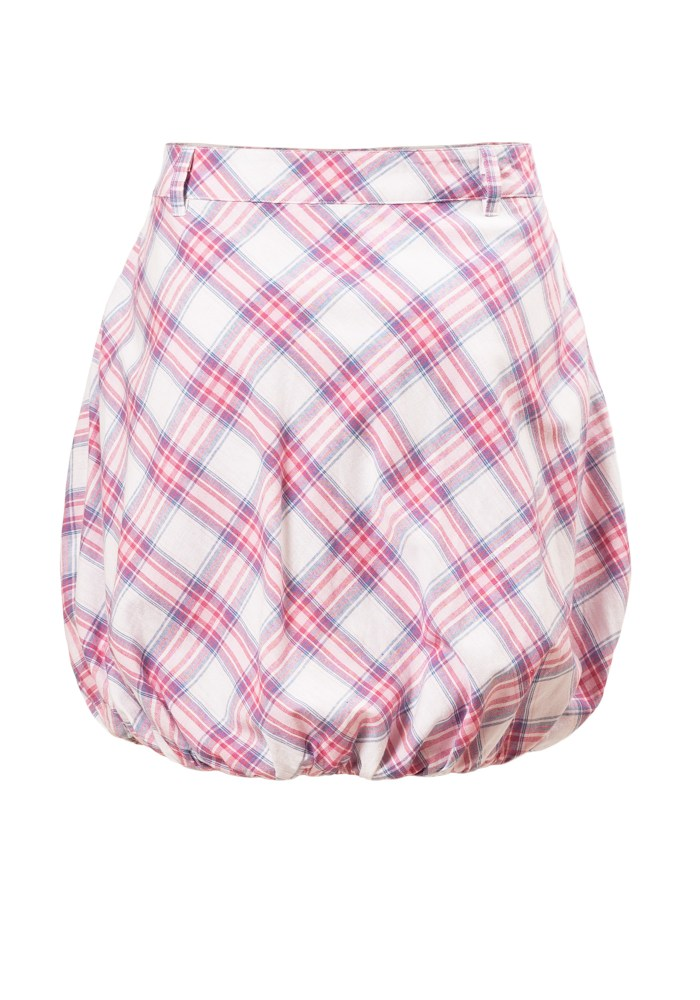 MINC Petite Kids Bubble Skirt in White, Pink and Blue Checks Cotton