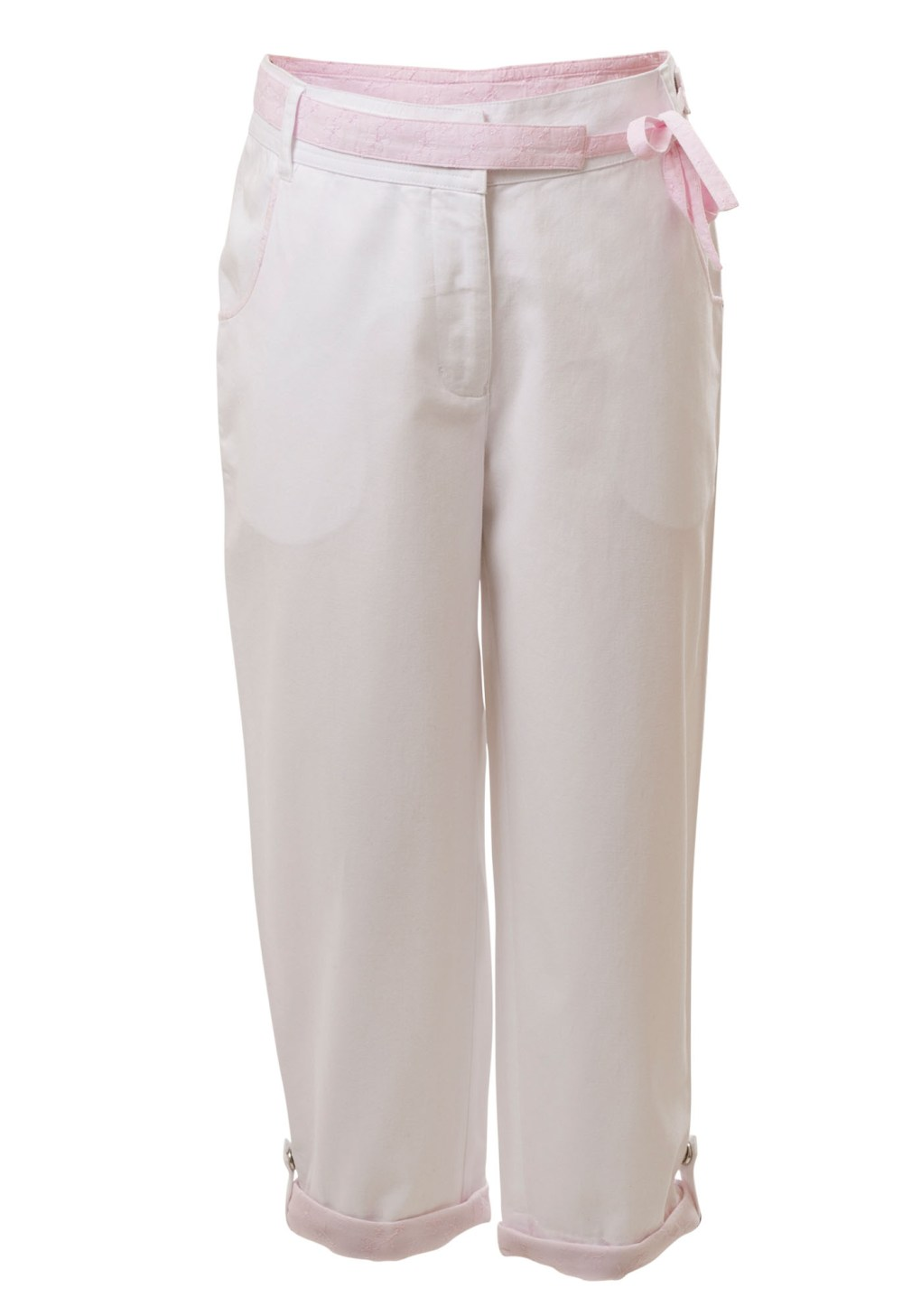MINC Petite Kids Pink Ice Girls Capris in White Cotton Twill