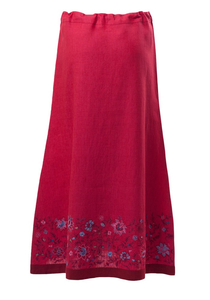 MINC Petite Raspberry Sorbet Girls Skirt in Fuchsia Linen