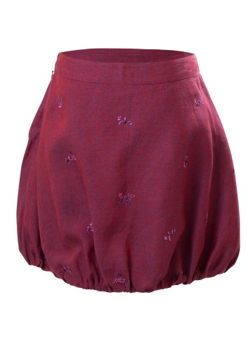 MINC Petite Sangria Girls Bubble Skirt in Wine Purple Linen