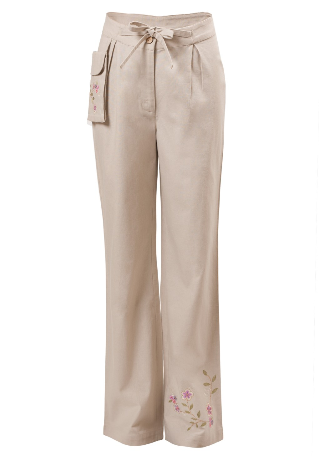 MINC Petite Sweet Pea Girls Embroidered Trousers in Off-White Cotton Linen