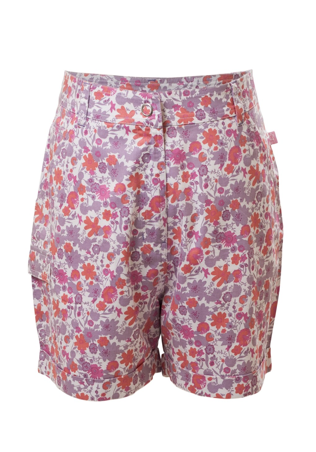 MINC Petite Tropical Safari Girls Roll Back Cuff Shorts in Printed Cotton