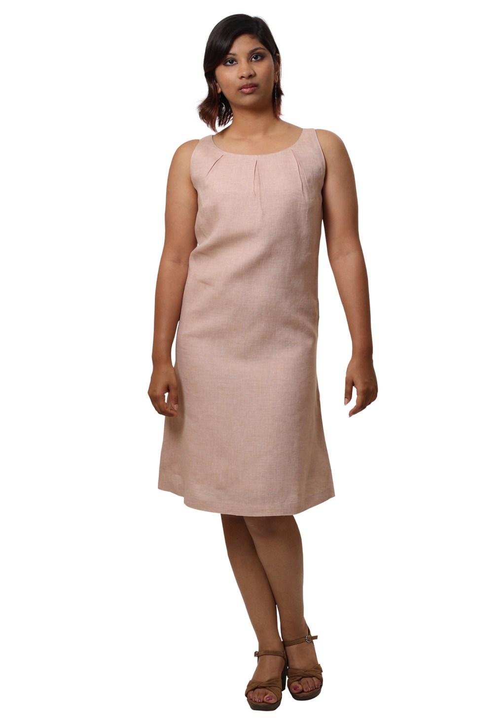 MINC Pleated Short Dress in Dune Beige Linen