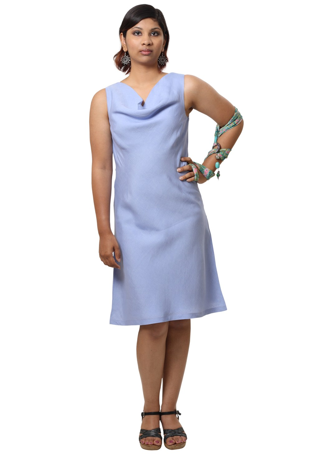 MINC Short Cowl Neck Dress in Lilac Linen