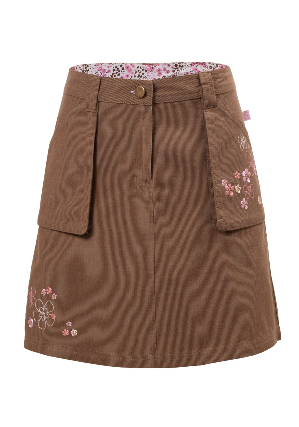 MINC Petite Autumn Fun Girls Embroidered Short Skirt in Brown Corduroy